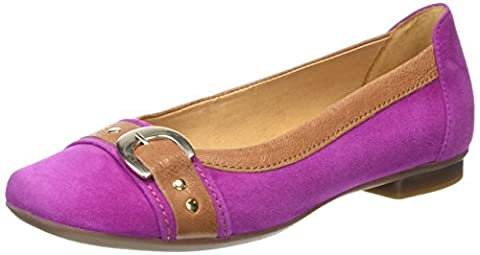 Gabor Indiana, Ballerines femme - Rose - Pink (Pink Suede/Brown Leather Trim), 38 EU (5 UK)