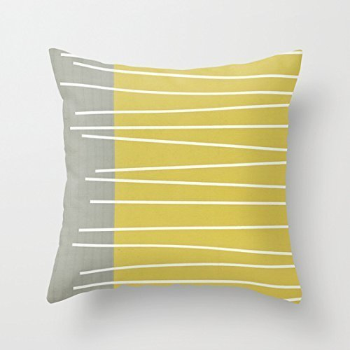 Mid Century Modern Bench (MId Century Modern Textured Stripes Throw Pillow Cover Cotton Polyeste18 x 18 Inches Unique Pillow Cases)