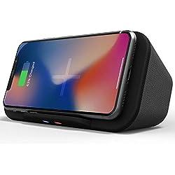 Enciente Bluetooth Portable avec Chargeur Induction sans Fil Qi, Power Bank Batterie Externe, 6W Stereo Support Telephone pour iPhone 11, XS, X, Samsung S10, S9 et Plus