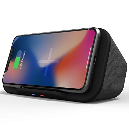Base de Altavoces portátil Bluetooth con Cargador inalámbrico QI Banco de energía...