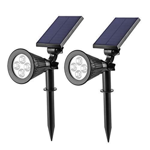 LED Solar Strahler Solarleuchte Landscape (2x;Warmweiß) 3th Version Superhelle Spotlight Solarbetriebene; Wasserdicht für die Hinterhöfe, Gärten, Rasen usw