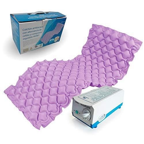 Colchón antiescaras | Antillagas | De aire color lila | Con motor compresor | Con alternancias de celdas | Modelo Mobi 1 | Mobiclinic