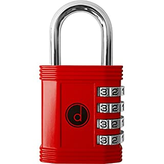 4 Digit Combination Padlock - Lock for Gym, School, Employee Locker, Fence, Hasp and Outdoor Storage - Color Red - by desired tools
