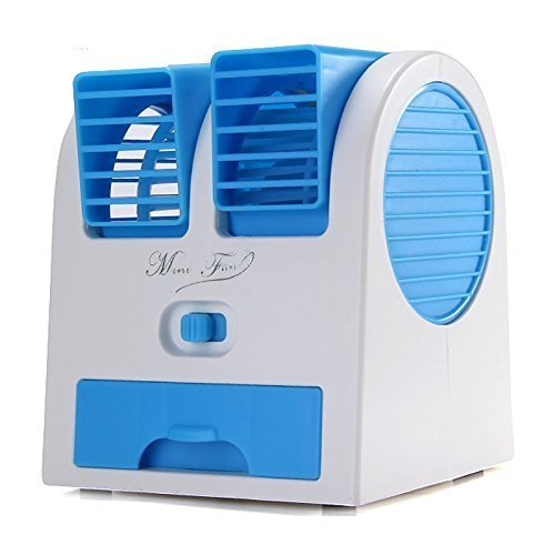 Dewberries Mini Fan & Portable Dual Bladeless Small Air Conditioner Water Air Cooler Powered by USB & Battery Use of Car/Home/Office