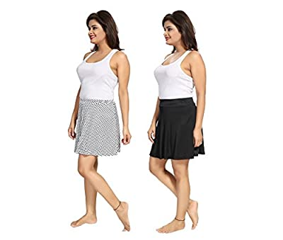 Tucute Girls / Womens Polka Dott's Print + Plain Black Mini Skirt ( Combo of 2 pcs) 7001
