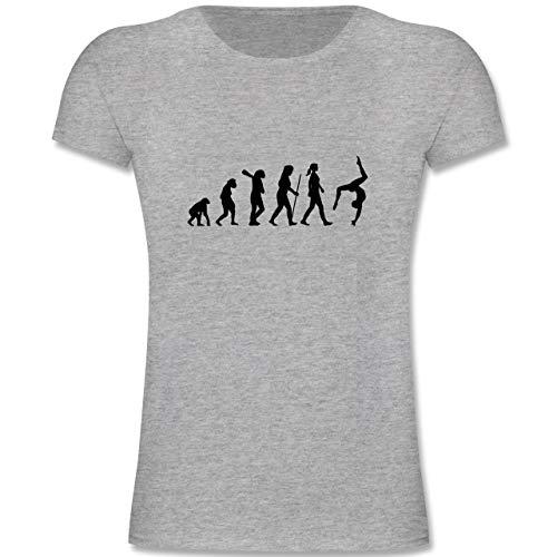 Evolution Kind - Evolution Turnen - 152 (12/13 Jahre) - Grau meliert - F131K - Mädchen Kinder T-Shirt