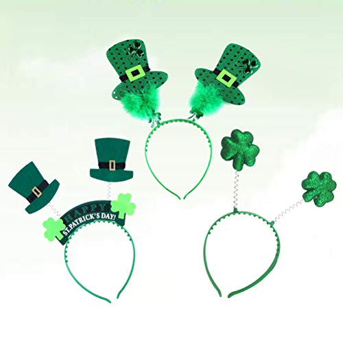 Amosfun 3pcs St. Patrick's Day Shamrock Boppers Kobold Hut Stirnband Haarband Kostüm (St Patty Day Kostüm)