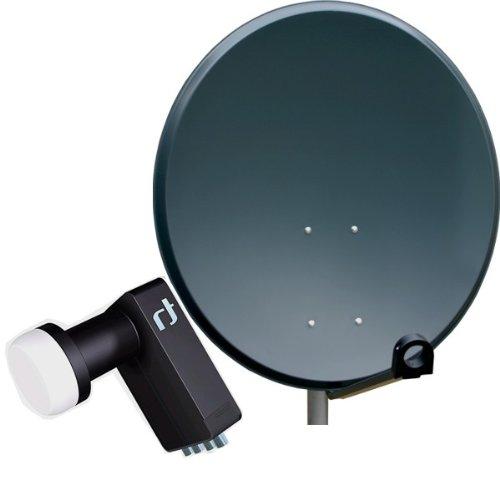 Antenne PremiumX PXA80 Aluminium 80 cm, Digital Sat Schüssel ALU Spiegel in Anthrazit + LNB Quad 0,2 dB Inverto Black Ultra High-Gain SAT LNB FullHD HDTV 3D tauglich