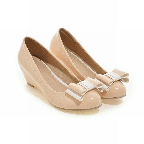 Mee Shoes Damen modern süß bequem Lackleder Keilabsatz runder toe Geschlossen mit Schleife Pumps Aprikose