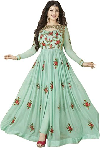 FENNY CREATION Women's Faux Georgette Dress Material (FC1130_NEW_PISTA_GOWN_Free Size_PISTA)