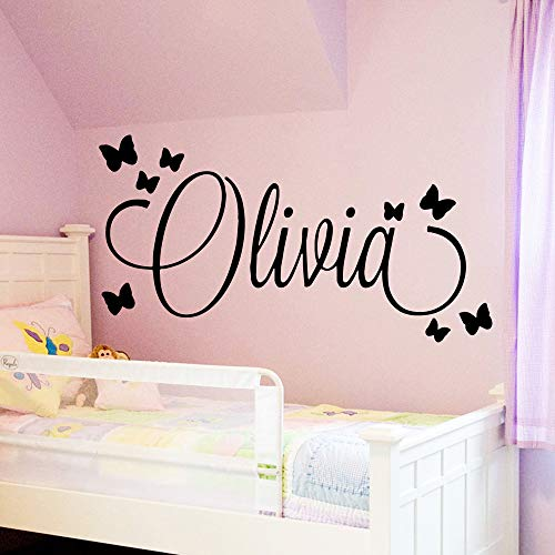 WWYJN Large Size Personalized Custom Name Wall Art Decal Babys Wall Stickers Material for Kids Girls Boys Bed Room Decoration Mural Gray M 30cm X 56cm