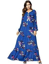 MEYINI Femmes Kaftan Abaya Musulman Robe Robes Islamiques Turques Robes Maxi  Imprimées Fleur Surdimensionnées 85b7fb1a07d