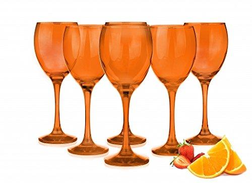 Sendez 6 Weingläser 300ml ORANGE Rotweingläser Weinkelch Rotweinkelche Weißweingläser (Kristall Wein Orange Gläser)