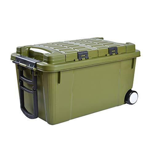 Boîte de rangement de coffre de voiture avec roue, organisateur multifonctionnel de coffre 55L, boîte de chargement double couche de voiture facile à déplacer (Couleur : Green)