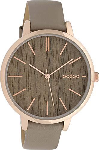 Oozoo Damenuhr mit Lederband 42 MM Rose/Braun Holz/Taupe C9748