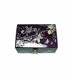 Belle boite à bijoux violet, coffret fantaisie pour jeune fille, artisanat en nacre naturelle, rangement pour bagues + miroir