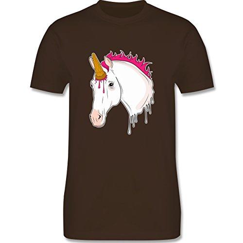 Einhörner - Einhorn mit Eis - Herren T-Shirt Rundhals Braun