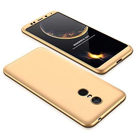 BCIT Xiaomi Redmi 5 Plus Funda Funda Xiaomi Redmi 5 Plus 360 Grados Integral Para Ambas Caras + Cristal Templado, Luxury 3 in 1 PC Hard Skin Carcasa Case Cover para Xiaomi Redmi 5 Plus (Oro)