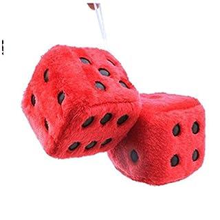 EXQUILEG Plüschwürfel für Auto Auto innen Ornament Autowürfel Fuzzy Dice 7.5 x 7.5 x 7.5cm (Rot)