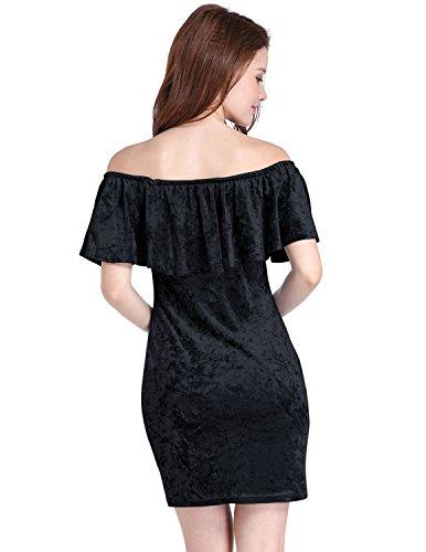 M-Queen Femmes Robe Épaule Off Velours Crayon Robe de Soirée Mariage Cocktail Jersey Moulante Mini Dress Noir