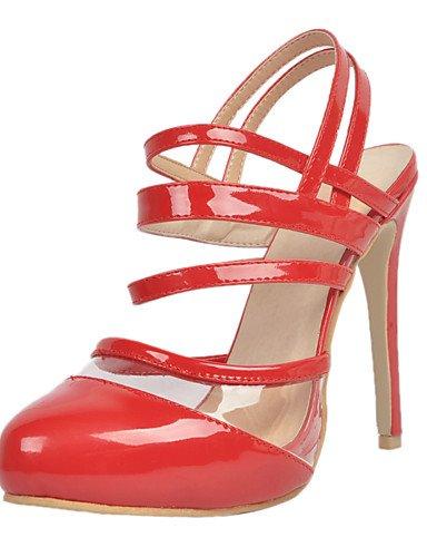 WSS 2016 talons en cuir chaussures de brevet talon aiguille / talons bout rond mariage / fête des femmes&soirée rouge red-us9.5-10 / eu41 / uk7.5-8 / cn42