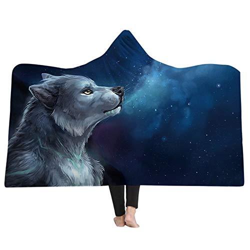 FGVBWE4R Hooded Blanket 3D Printing Wolf Cartoon Tiere Kapuzendecken Wearable Home Kinder Erwachsene Decken Winter Warm Portable-06,130x150cm