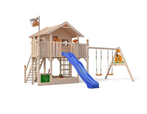 ISIDOR Spielturm Big Boo Einfachem Schaukelanbau, Rutsche, Basketballkorb, Kletternetz, Lenkrad und Aufstiegstreppe auf 1,50 Meter Podesthöhe