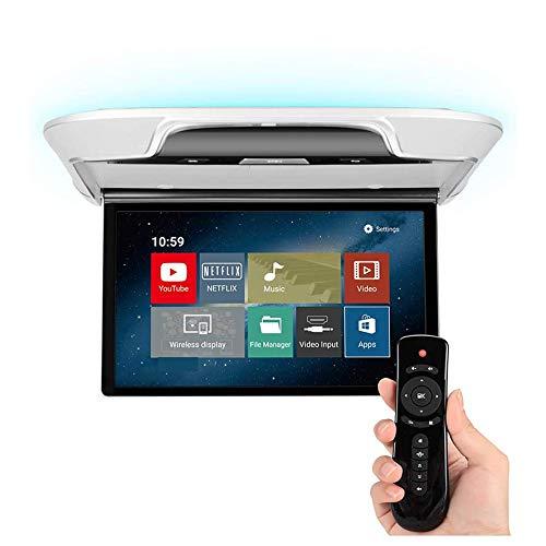 Auto Flip Down Monitor-21,5 Zoll Android 6.0 1080 P MP5 Auto Decke TV IPS-Anzeige, FM, HDMI, WiFi, Bluetooth, USB/SD, 16 Farbe Umgebungsbeleuchtung,Gray -