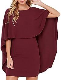 BoBoLily Frauen Kleid Minikleid Elegant Kurz Caped Rundkragen Rückenfrei  3 4 Hülsen Eng Slim Fit 3a50ef50e8