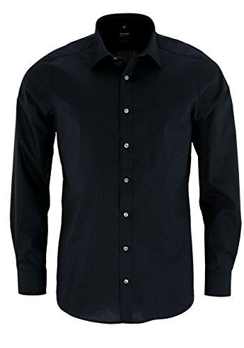 OLYMP Level Fit body fit Hemd Langarm Stretch schwarz (Baumwoll-italienisch Hemd)