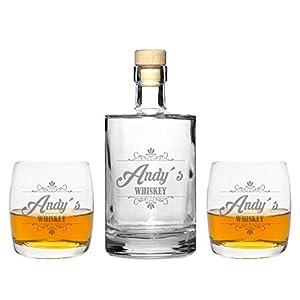 FORYOU24 2 Edle Whiskeygläser mit Whiskeykaraffe und Gravur Whiskey Whisky-Set graviert