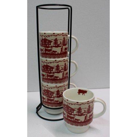 SET de 4 Mugs POYA Montagne sur colonne