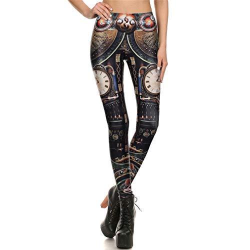 Steampunk Gear Cosplay Mujeres Leggings Impresión 3D Leggins de Verano Dial mecánico Pantalones Delgados WM-KDK-72001 M