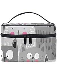 1a1295d6e Neceser de maquillaje, diseño de gatos con dibujos animados, portátil, con  cremallera