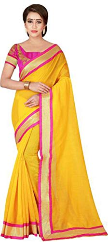 ditional Collection Party Wear Cotton Silk Saree Sari,Function, Karneval, Birthday Dress, Geburtstag, Indische Kleid,Hippie Kleid (Yellow) ()