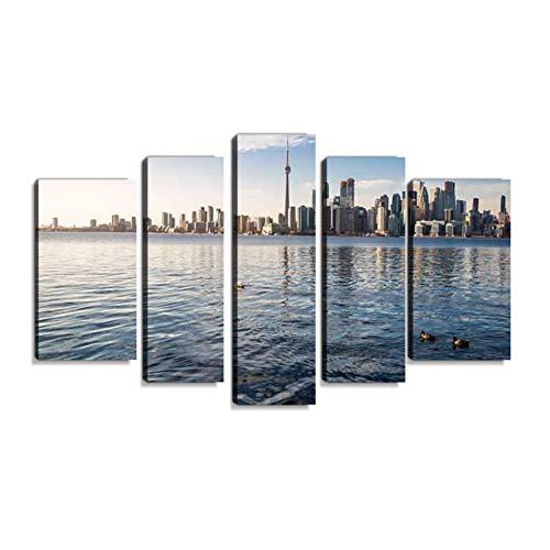 Inbel Kunst Toronto Skyline and Schwans - Toronto, Ontario, Canada Wandbilder abstrakt Leinwandbild Digitalkunstdruck leinwanddrucke Eigenes Design Gemälde Wanddekoration mit Holzrahmen 5-teilig