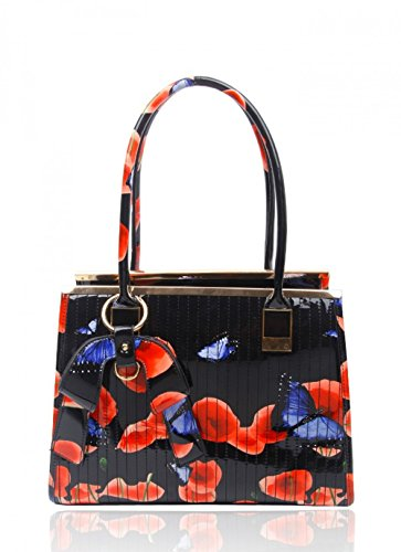 Craze London, Borsa a spalla donna BLACK HAND BAG