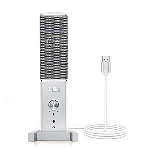 TONOR USB PC Mikrofon Konferenzmikrofon Tischmikrofon TC-1020 mit Nierencharakteristik für Mac-und Windows-Computer mit 3,5 mm Klinkenstecker für Aufnahme Voice-Over Podcasting Streaming Chat Silber