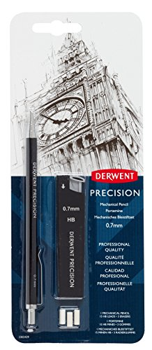 DERWENT Precision Mechanical Pencil 0.7 mm with HB Leads and Erasers