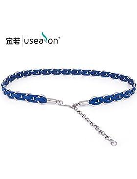 SILIU*Elegante decoración en verano suéter femenino cintura de metal fino cinturón de cuero trenzado Enlace cinturón...