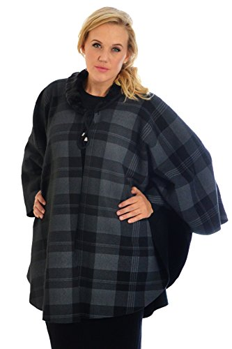 Tartan Cape Jacket Charcoal One Size (Faux Pelz Cape Men)