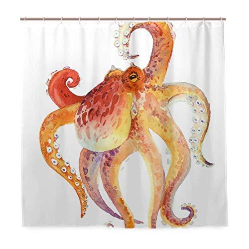 Duschvorhang 72x72 Zoll Art Ocean Kraken Red Octopus Polyestergewebe mit 12 Haken Benutzerdefinierte wasserdichte Badezimmer Dekor -