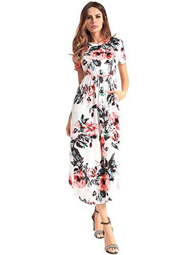 Frauen Elegante Blumen Kurzarm Sommer Strand Midi Maxi Kleider Weiß S