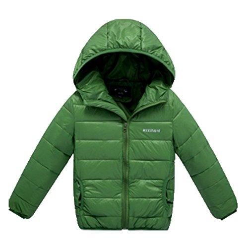 Ohmais Unisex Jungen Mädchen Winter Down Jacket verdickte Winterjacke Jungen Mantel verdickte Trenchcoat Jungen Outerwear Grün