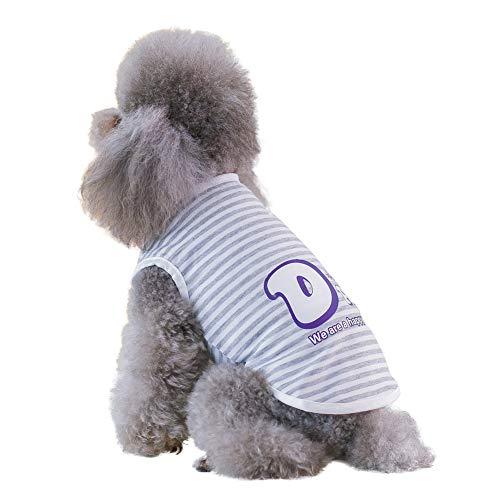 Etophigh Pet Sleeveless T-Shirt Frühling Sommer Kreative Elternschaft Gestreifte Weste für kleine,mittlere Welpen Kostüme Outfit Pudel Teddy Hundebekleidung,S/M/L/XL/XXL