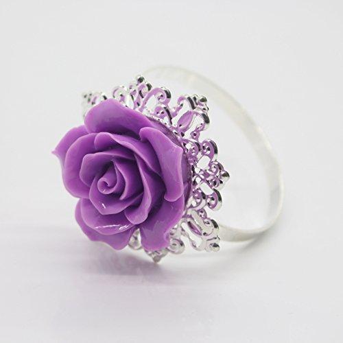10pcs Lila Rose Dekoration Silber Serviette Ring Serviettenhalter für Hochzeit Party Abendessen Tabelle Decor viele Farbe erhältlich