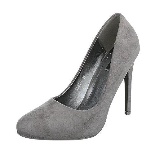High Heel Damenschuhe Plateau Pfennig-/Stilettoabsatz High Heels Ital-Design Pumps Grau 5041-5