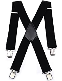 Durable 50MM Wide Black Elastic and Adjustable Mens Trouser Braces Suspenders X shape with Strong Metal Clips - Heavy Duty