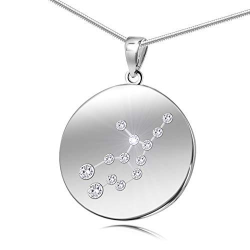 LillyMarie Damen Halskette Sterling-Silber 925 Swarovski Elements Sternzeichen-Anhänger Jungfrau Längen-verstellbar Schmucketui Geschenk für Frauen