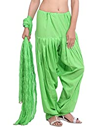 Jaipur Kurti Pure Cotton Patiala Salwar And Dupatta Set (Parrot Green)